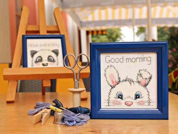 Süßer Hase Dekor Guten Morgen Zeichen Abgeschlossen Kreuzstich Blau Gerahmt Kleine Hase Geschenk Blauer Kinderzimmer Dekor Geschenk Von