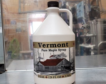 One gallon Vermont Organic Maple syrup.