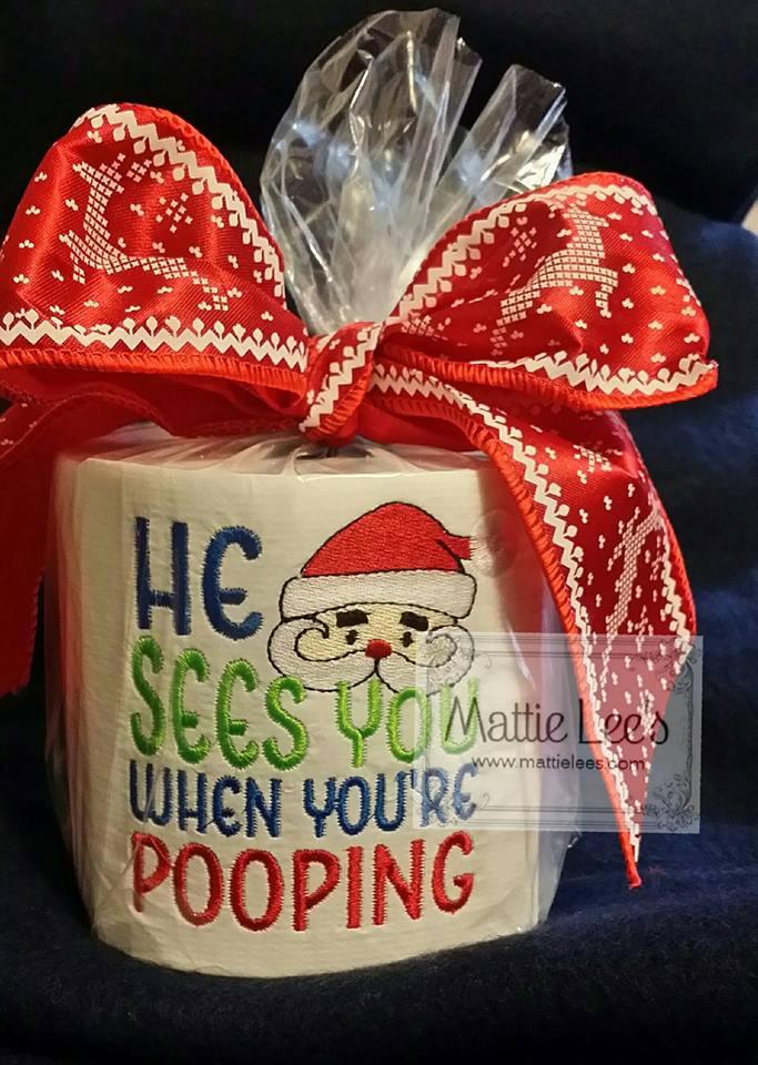 Monogrammiert Weihnachten Toilettenpapier, Gag-Geschenk, schmutzige Santa, Weihnachten, Frohe Weihnachten, lustig, WC-Papier