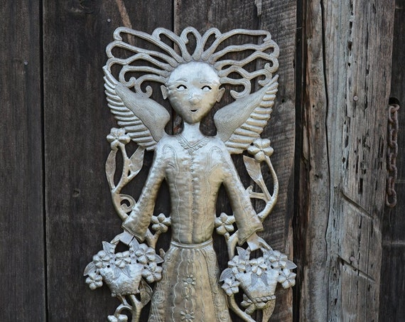 "Garden Angel,Baskets of Flowers, Large Metal Angel, Fair Trade, Recycled Metal Wall Art, Steel wall Sculpture, 17"" x 34"""