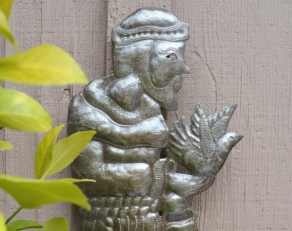 "Saint Francis, Metal Blessed Saint, Haitian Metal Art, Religious Decoration Novelty Gift (7"" X 17.5"")"