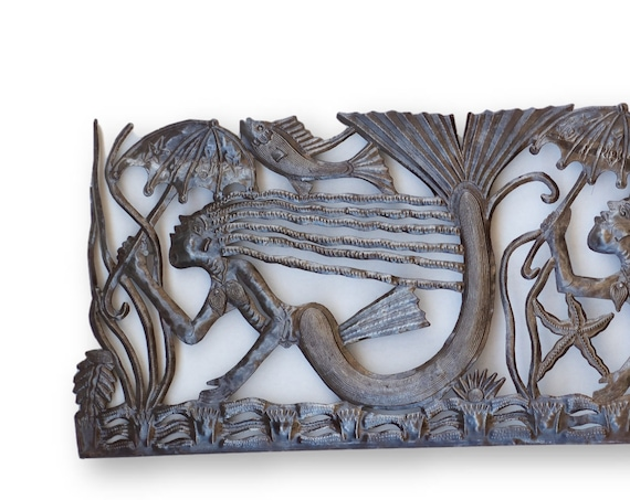 Haitian Nautical Decor, Mermaid Trio Handmade of Recycled Metal, Vintage One-of-a-Kind Art 69x17in