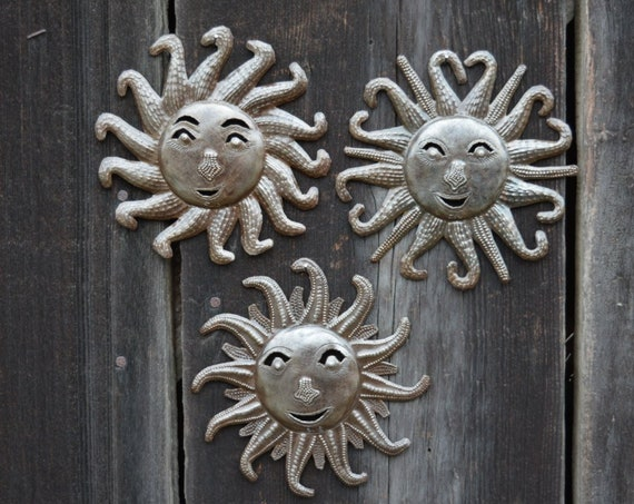 "Small Metal Suns, hang indoor or outdoor, Handmade in Haiti, quality craftsmanship  (set of 3) 6"" x 6"""