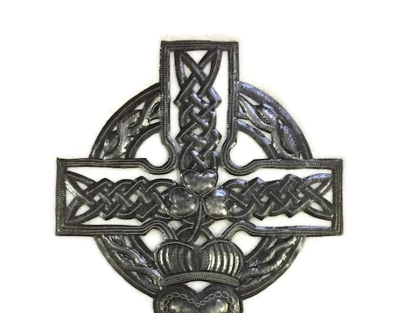 "Celtic Cross,  Metal Wall Art, Large Cross, Novelty Gift, Handmade in Haiti, 11.5"" X 18"""