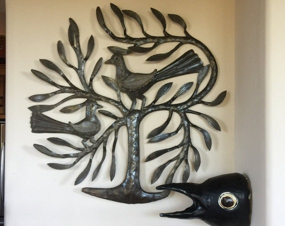 """Winged Birds Tree of Life, Haitian Metal Wall Art from Recycled Steel Oil Barrels  22"""" x 22"""""""