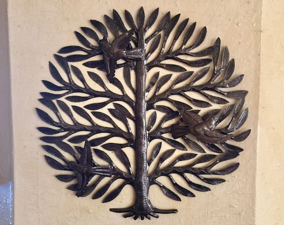 """Family Garden Tree of Life, 3-D Birds, Artistic Haitian Metal Wall Art from Recycled  Barrel 15"""" x 15"""""""