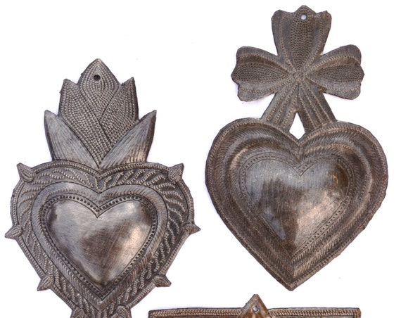 Metal Hearts Spirituality & Religion, Hand Cut with a hammer and a nail 6""