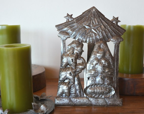 """In the Stable Nativity, Christmas Home Decorations, Haiti Steel Drum Art 7.5"""" X 10.5"""""""