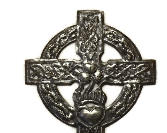 "Novelty Metal Cross, Small Celtic Cross, Traditional Irish Art, Handmade in Haiti, 7.25"" x 9"""