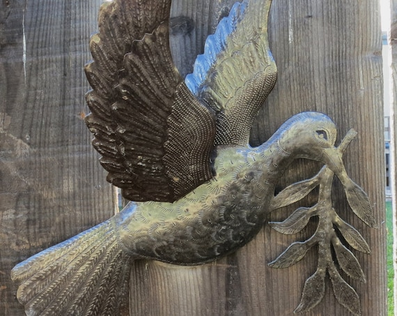 "Dove of Peace Recycled Metal Wall Art from Haiti, Fair Trade 3 - Dimensional Winged Bird 17"" x 16"" Hammered Steel"