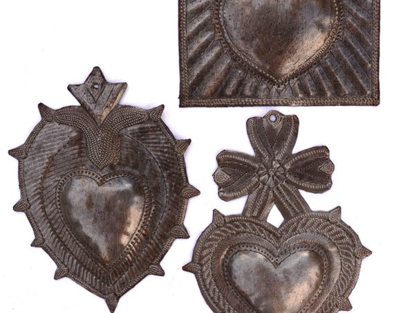 """Metal Hearts (set of 3), Recycled Metal Art made in Haiti, Wall Art, 6"""" Spirituality & Religion"""
