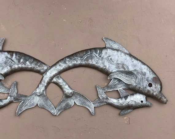 "Small Metal Dolphins, Jumping Dolphins Wall Art, Handmade in Haiti, Beach and sea life home decor 8"" x 22"""