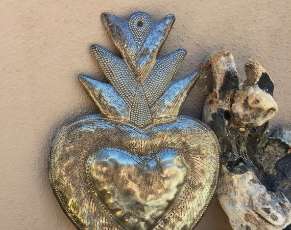 "Small Flaming Milagro Heart, Unique Artwork, Love and Friendships Gifts, Handmade in Haiti 7"" x 9"""