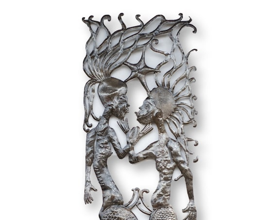 Haiti Steel Sculpture, Mermaids in Love Under the Sea, Vintage Folk Art, 70x18in.