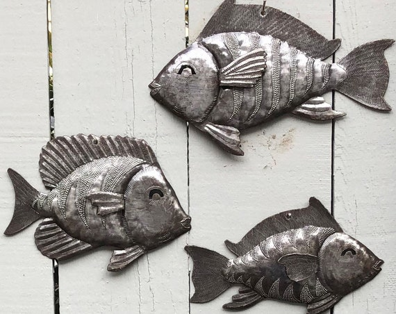Nautical Fish, Set of 3, Sea Life Home Decor, Beach Themed Decoration, Handmade in Haiti