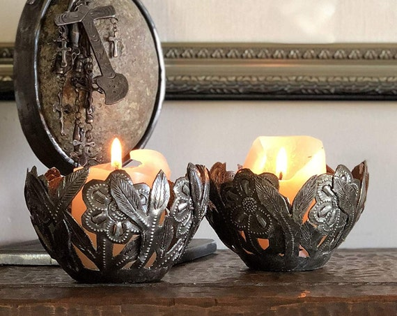 "Flower Votive Candle Holder (Set of 2), Rustic Modern Design, Handmade in Haiti 4"" x 4"" x 2.5"""