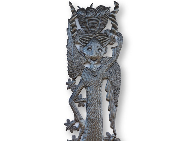 Haiti Metal Art, Angel with Beautiful Ruffled Skirt, Vintage Home Decor, One-of-a-Kind 70x12in.