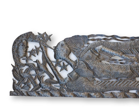 Haiti Metal Sculpture, Playing for the Moon Vintage Handcrafted Art, One-of-a-Kind 71x18in.