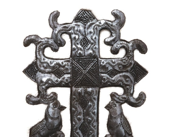 "Metal Cross with Birds, Novelty Gift, Wall Art, Handcrafted in Haiti 5 1/2"" X 7"""