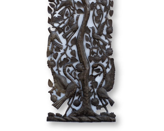 Haitian Metal Sculpture, Tree of Life with Birds by Michee Remy, One-of-a-Kind Vintage Art 70x18in