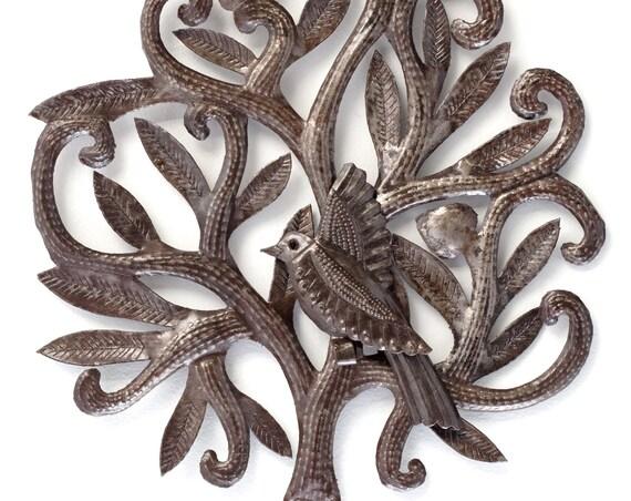 "Nesting Bird Garden Haiti Metal Art, eco-friendly gift 14"" x 14"""