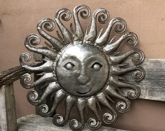 """Sun Shinning in The Sky, Spiral Sun Rays, Handmade in Haiti, Spring Garden Decor, 23"""" x 23"""" …"""