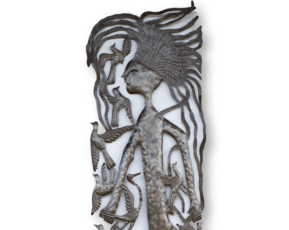 Haitian Metal Art, Michee Remy Mermaid, One-of-a-Kind Vintage Nautical Theme Decor, 71x17in.