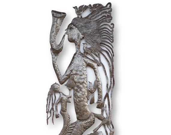 Haitian Metal Art, Saxophone Mermaid by Michee Remy, One-of-a-Kind Vintage Art 71x18in