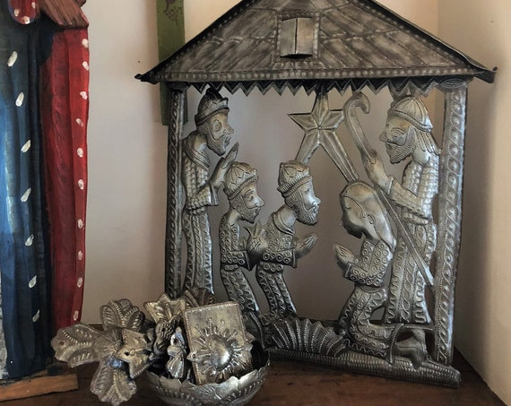 "Handmade Ethnic Nativity,Stable in Bethlehem Creche Scene Recycled Metal Art from Haiti, 15"" x 17.25"" x 2"""