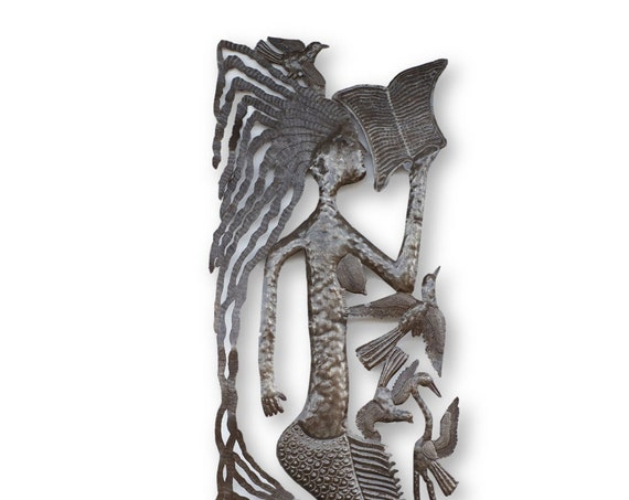 Haiti Metal Art, Reading to the Children Mermaid, One-of-a-Kind Vintage Art 71x17in.