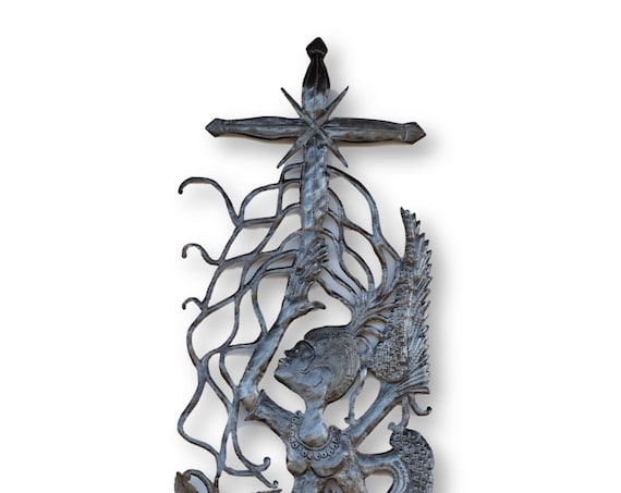Haiti Metal Art, Praising the Cross, One-of-a-Kind Vintage Angel Home Decor 70x18in