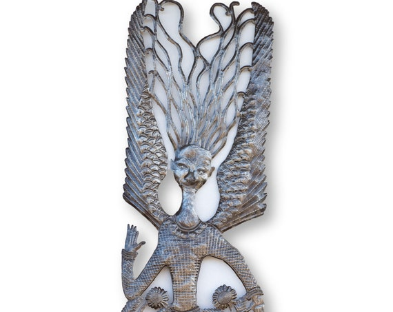 Haiti Metal Sculpture, Long Winged Angel Handcrafted in Haiti, One-of-a-Kind Vintage Fair Trade 71x18in.