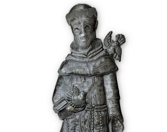 "Saint Francis, Metal Wall Art from Haiti Easter Spring Religious Decoration, Novelty Gift  (7"" X 17.5"")"