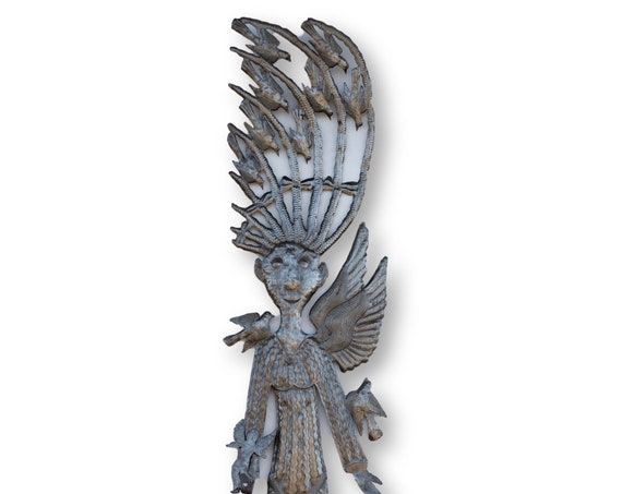Haiti Metal Art, Bird in Hair of Angel, Vintage Angelic Home Decor, One-of-a-Kind 70x13in