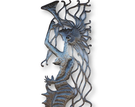 Metal Home Decor, Mermaid with Trumpet Handmade in Haiti, One-of-a-Kind Vintage Art 71x17in