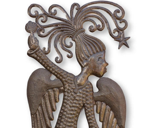 Dancing Angel Handcrafted in Haiti, One-of-a-Kind Sustainable Decor 13.5x34
