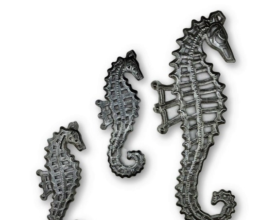 Metal Seahorse Family, Beach indoor and outdoor home decor, Nautical inspired, Novelty gift Steel Wall art, Handmade in Haiti set of 3