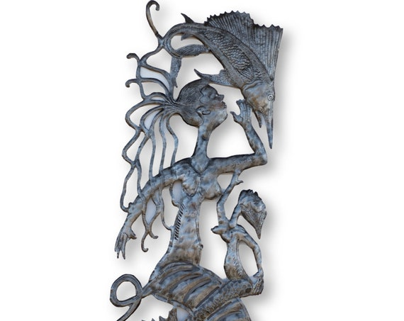 Haitian Metal Decor, Mommy & Me Mermaid, One-of-a-Kind Handcrafted Art 70x17in