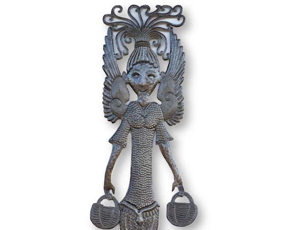 Haiti Metal Art, Beautifully Handcrafted Angel with Baskets, One-of-a-Kind Vintage Home Decor, 71x13in