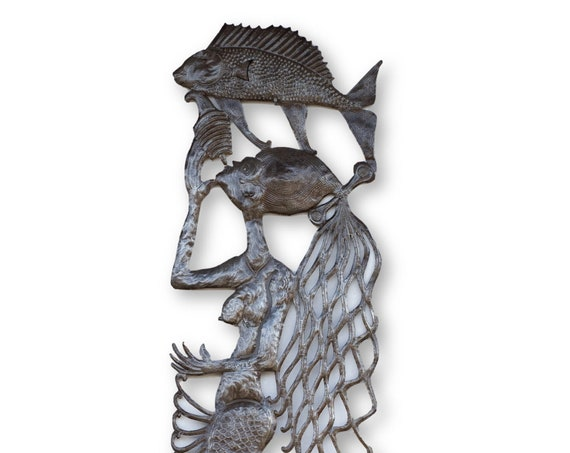 Haitian Handcrafted Sculpture, Mermaid with Fish Above, One-of-a-Kind Vintage Art 70x18in
