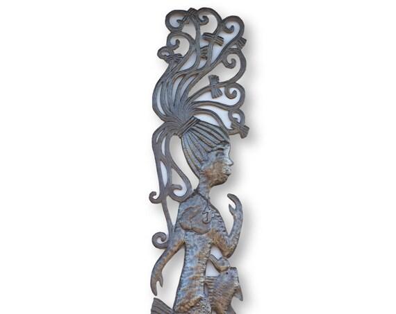 Haiti Metal Art, Vintage Ponytail Mermaid, Under the Sea Home Decor, Limited Edition 70x11in