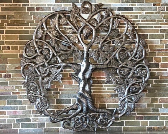 Tree of life metal wall decor, Celtic Artwork, Rustic, Contemporary iron decoration, Handmade in Haiti