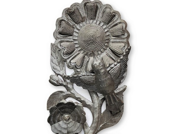 "Spring Sunflower With Bird, Haiti Metal Wall Art 5"" X 14.5"""