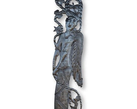 Haiti Metal Art, Boy Climbing Angel Girl, Vintage Home Decor Fair Trade, 70x11in