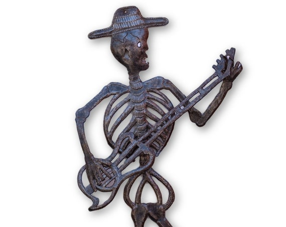 Skeleton Playing Guitar, Beautifully Handcrafted Haitian Art, One-of-a-Kind 24x13