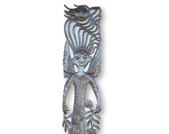 Haiti Metal Art, Vintage Angel in Flower Field, Fair Trade One-of-a-Kind 70x11.5in