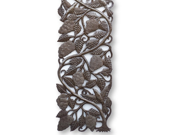 Haitian Metal Art, Handmade Grapevine Folk Art, Vintage Home Decor, Limited Edition 71x18