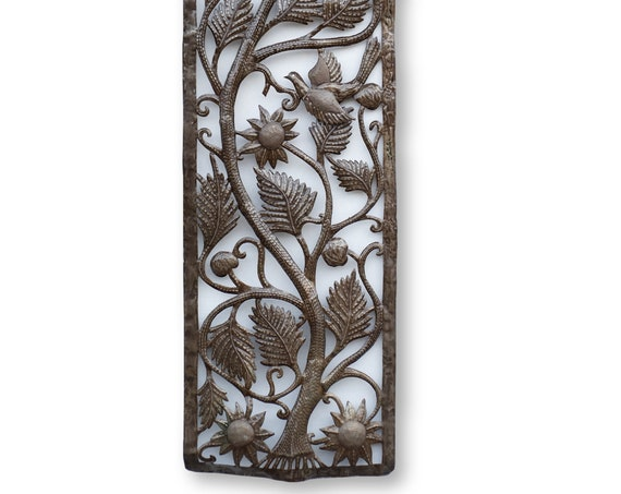 Haitian Metal Home Decor, Tree of Life with Dragonflies, Vintage Handmade Art 70x17.5in