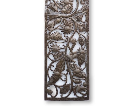 Haitian Metal Folk Art, Horizontal Tree of Life, Vintage Handcrafted Fair Trade 70x17in