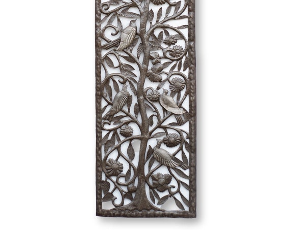 Haitian Wall Sculpture, Framed Tree of Life & Birds, One-of-a-Kind Fair Trade, 70x17.5in
